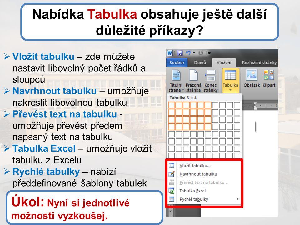 Nabídka Tabulka obsahuje ještě další důležité příkazy?  Vložit tabulku – zde můžete nastavit libovolný počet řádků a sloupců  Navrhnout tabulku – um