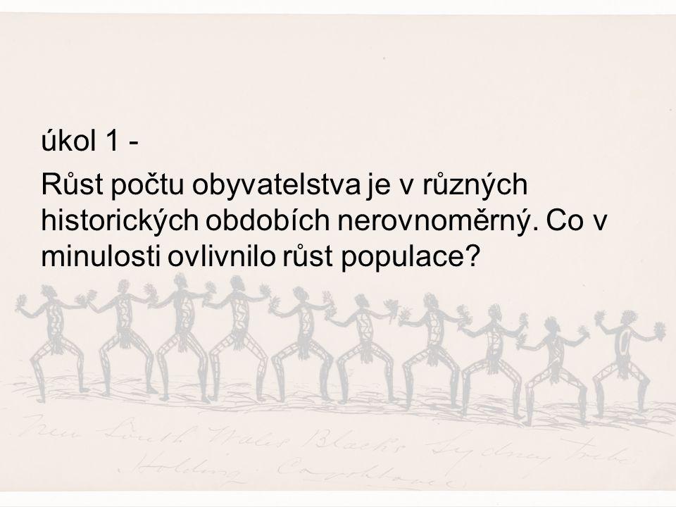 Tři výrazná období růstu počtu obyvatel Neolitická revoluce –7000 – 6000 př.n.l.(přechod lidstva od sběru plodin k lovu zvěře a zemědělství – více potravy)