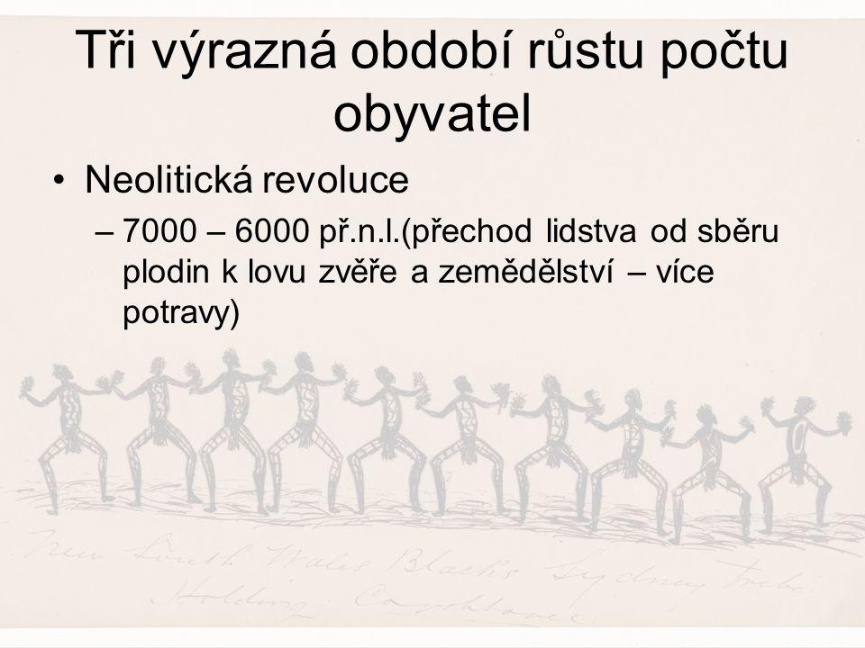 Tři výrazná období růstu počtu obyvatel Neolitická revoluce –7000 – 6000 př.n.l.(přechod lidstva od sběru plodin k lovu zvěře a zemědělství – více pot