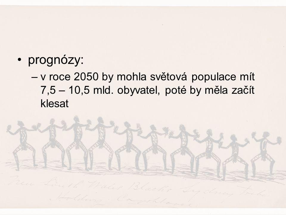 prognózy: –v roce 2050 by mohla světová populace mít 7,5 – 10,5 mld. obyvatel, poté by měla začít klesat