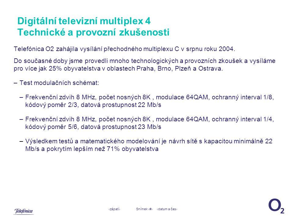 ‹datum a čas›‹zápatí›Snímek ‹#› Digitální televizní multiplex 4 Technické a provozní zkušenosti Telefónica O2 zahájila vysílání přechodného multiplexu