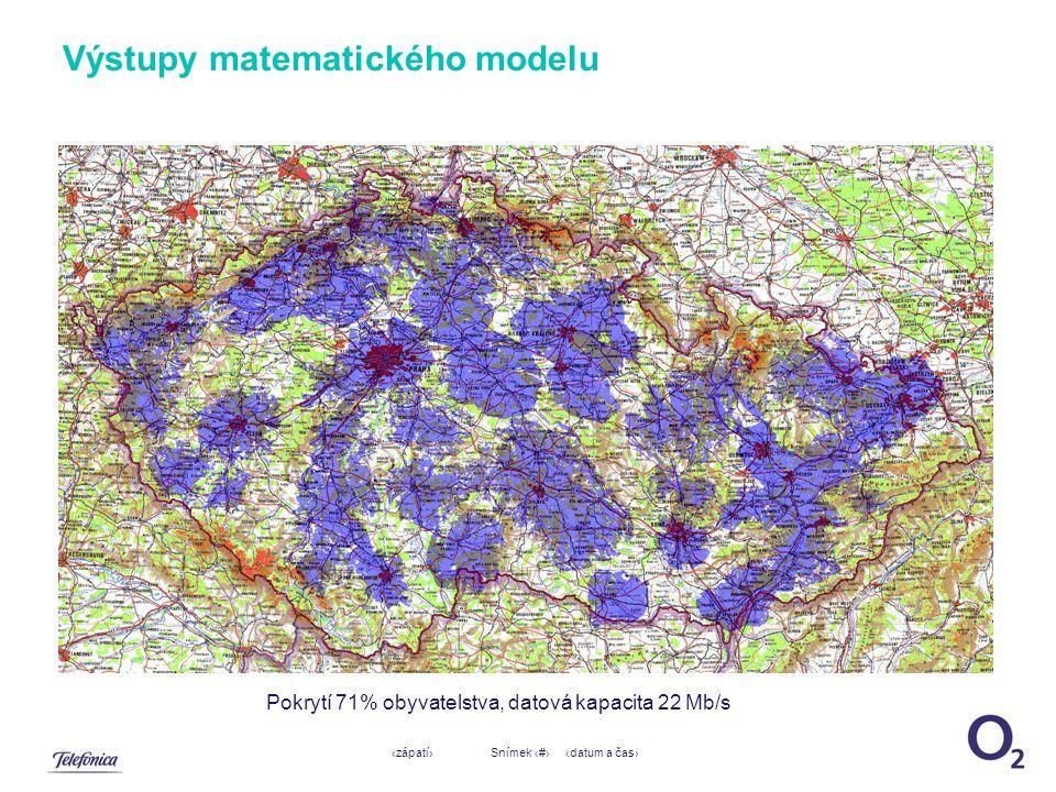 ‹datum a čas›‹zápatí›Snímek ‹#› Výstupy matematického modelu Pokrytí 71% obyvatelstva, datová kapacita 22 Mb/s