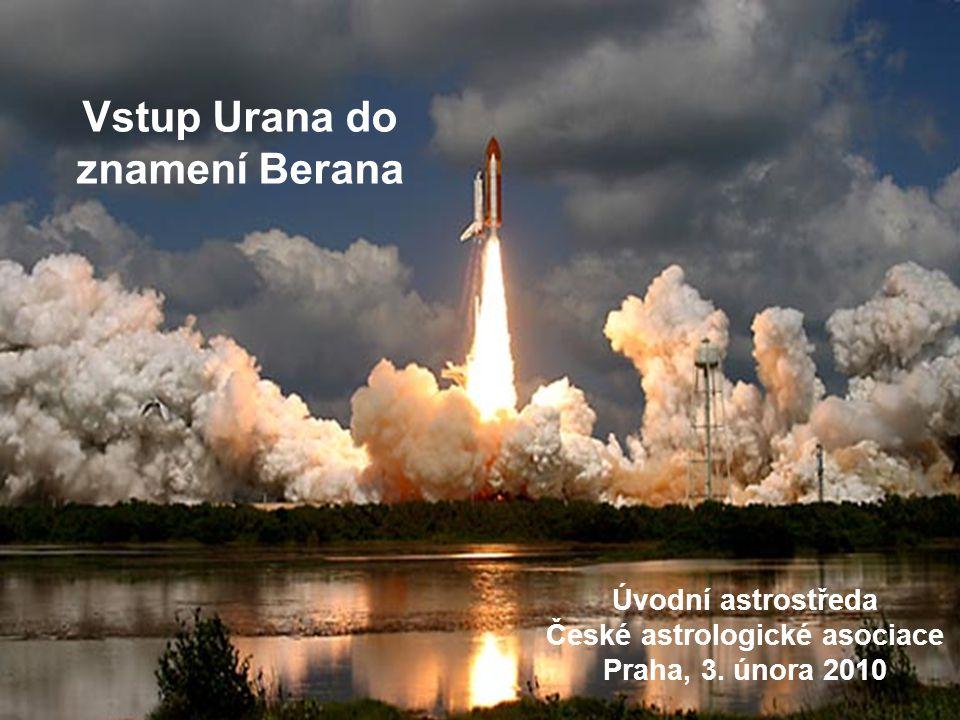 Vstup Urana do Berana Kontext – související dění V průběhu let 2008 – 2011 se pomalé planety přesunou do základních znamení: Pluto do Kozoroha 01/2008, 06/2008, 11/2008 (do 2023-4) Uran do Berana 05/2010, 08/2010, 03/2011 (do 2018-19) Saturn do Vah 10/2009, 04/2010, 07/2010 (do 2012) Jupiter do Berana 06/2010, 09/2010, 01/2011 (do 2011) Neptun zůstane v tomto ohledu mimo dění Tedy otevřou se nová, výrazná témata
