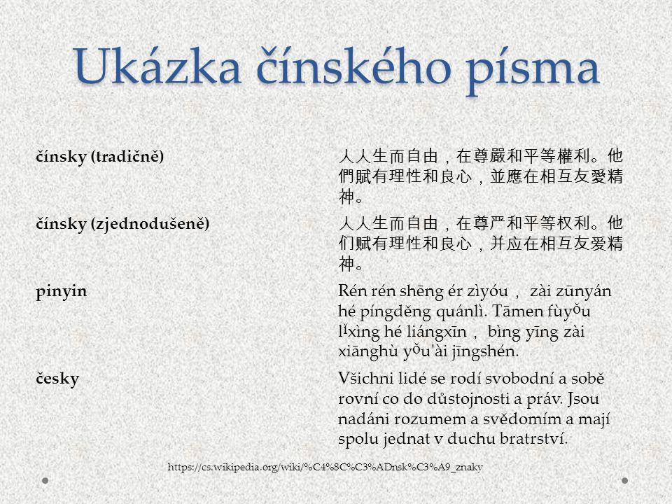 čínsky (tradičně) 人人生而自由,在尊嚴和平等權利。他 們賦有理性和良心,並應在相互友愛精 神。 čínsky (zjednodušeně) 人人生而自由,在尊严和平等权利。他 们赋有理性和良心,并应在相互友爱精 神。 pinyinRén rén shēng ér zìyóu , z
