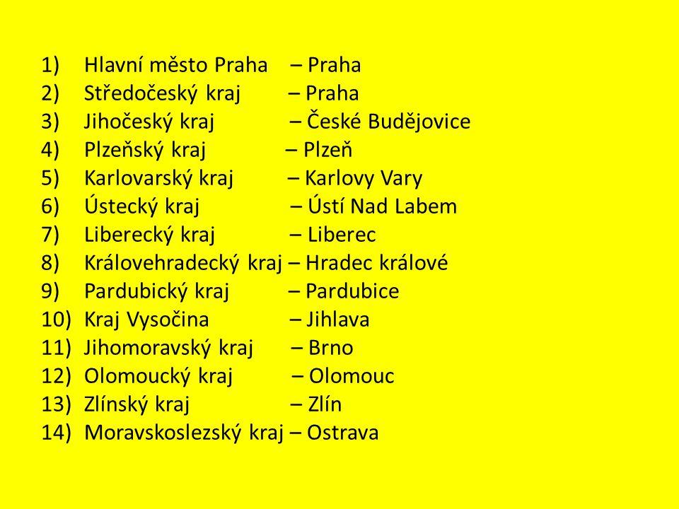 1) Hlavní město Praha – Praha 2) Středočeský kraj – Praha 3) Jihočeský kraj – České Budějovice 4) Plzeňský kraj – Plzeň 5) Karlovarský kraj – Karlovy