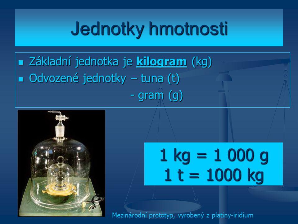 Jednotky hmotnosti Základní jednotka je kilogram (kg) Odvozené jednotky – tuna (t) - gram (g) 1 kg = 1 000 g 1 t = 1000 kg Mezinárodní prototyp, vyrob