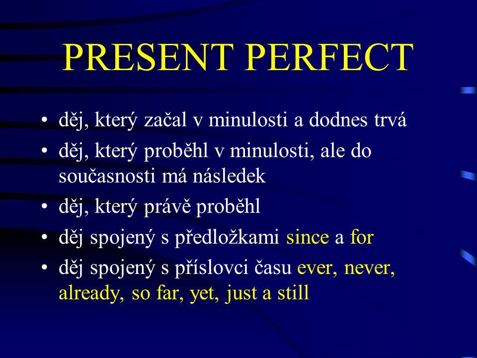 PRESENT PERFECT děj, který začal v minulosti a dodnes trvá děj, který proběhl v minulosti, ale do současnosti má následek děj, který právě proběhl děj spojený s předložkami since a for děj spojený s příslovci času ever, never, already, so far, yet, just a still