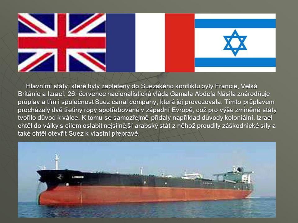 Hlavními státy, které byly zapleteny do Suezského konfliktu byly Francie, Velká Británie a Izrael. 26. července nacionalistická vláda Gamala Abdela Ná