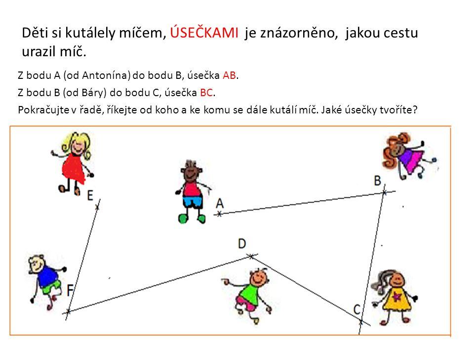 Děti si kutálely míčem, ÚSEČKAMI je znázorněno, jakou cestu urazil míč. Z bodu A (od Antonína) do bodu B, úsečka AB. Z bodu B (od Báry) do bodu C, úse