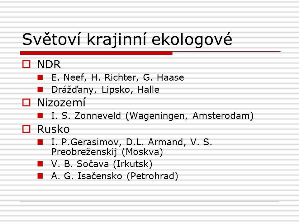 Světoví krajinní ekologové  NDR E. Neef, H. Richter, G. Haase Drážďany, Lipsko, Halle  Nizozemí I. S. Zonneveld (Wageningen, Amsterodam)  Rusko I.