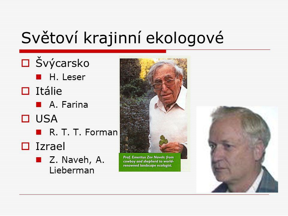 Světoví krajinní ekologové  Švýcarsko H. Leser  Itálie A. Farina  USA R. T. T. Forman  Izrael Z. Naveh, A. Lieberman