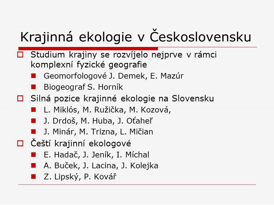 Krajinná ekologie v Československu  Studium krajiny se rozvíjelo nejprve v rámci komplexní fyzické geografie Geomorfologové J. Demek, E. Mazúr Biogeo