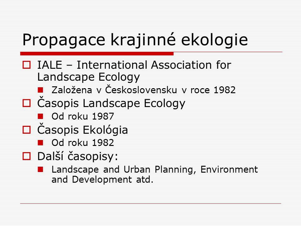 Propagace krajinné ekologie  IALE – International Association for Landscape Ecology Založena v Československu v roce 1982  Časopis Landscape Ecology