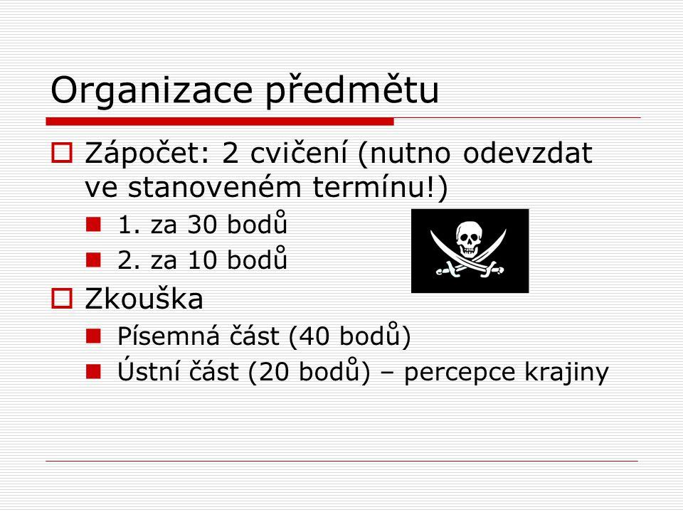 Organizace předmětu  Zápočet: 2 cvičení (nutno odevzdat ve stanoveném termínu!) 1. za 30 bodů 2. za 10 bodů  Zkouška Písemná část (40 bodů) Ústní čá