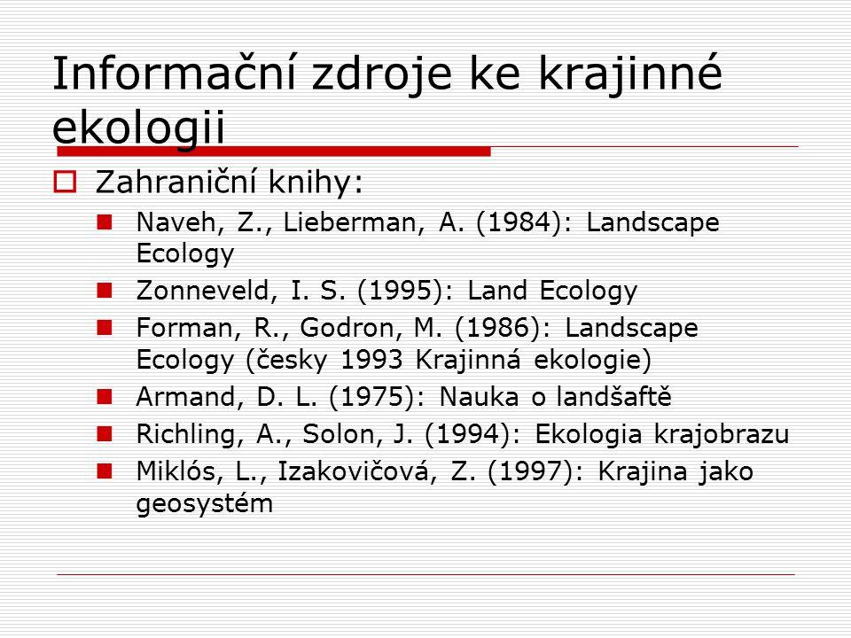 Informační zdroje ke krajinné ekologii  Zahraniční knihy: Naveh, Z., Lieberman, A. (1984): Landscape Ecology Zonneveld, I. S. (1995): Land Ecology Fo