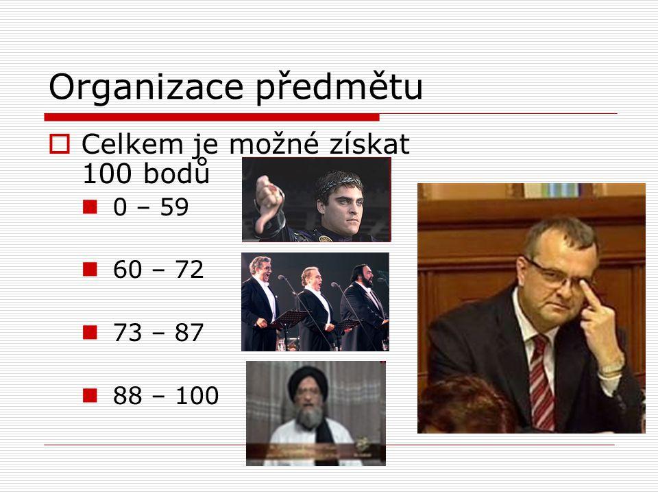 Organizace předmětu  Celkem je možné získat 100 bodů 0 – 59 60 – 72 73 – 87 88 – 100