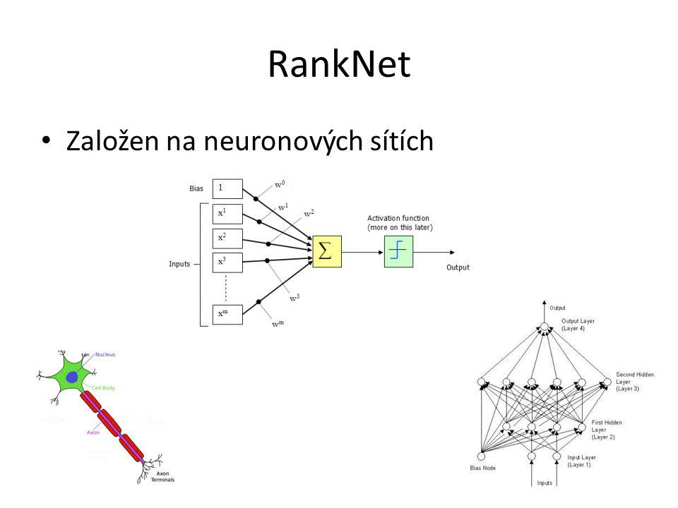 RankNet Založen na neuronových sítích