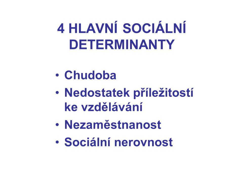 4 HLAVNÍ SOCIÁLNÍ DETERMINANTY Chudoba Nedostatek příležitostí ke vzdělávání Nezaměstnanost Sociální nerovnost