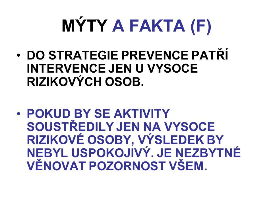 MÝTY A FAKTA (F) DO STRATEGIE PREVENCE PATŘÍ INTERVENCE JEN U VYSOCE RIZIKOVÝCH OSOB.