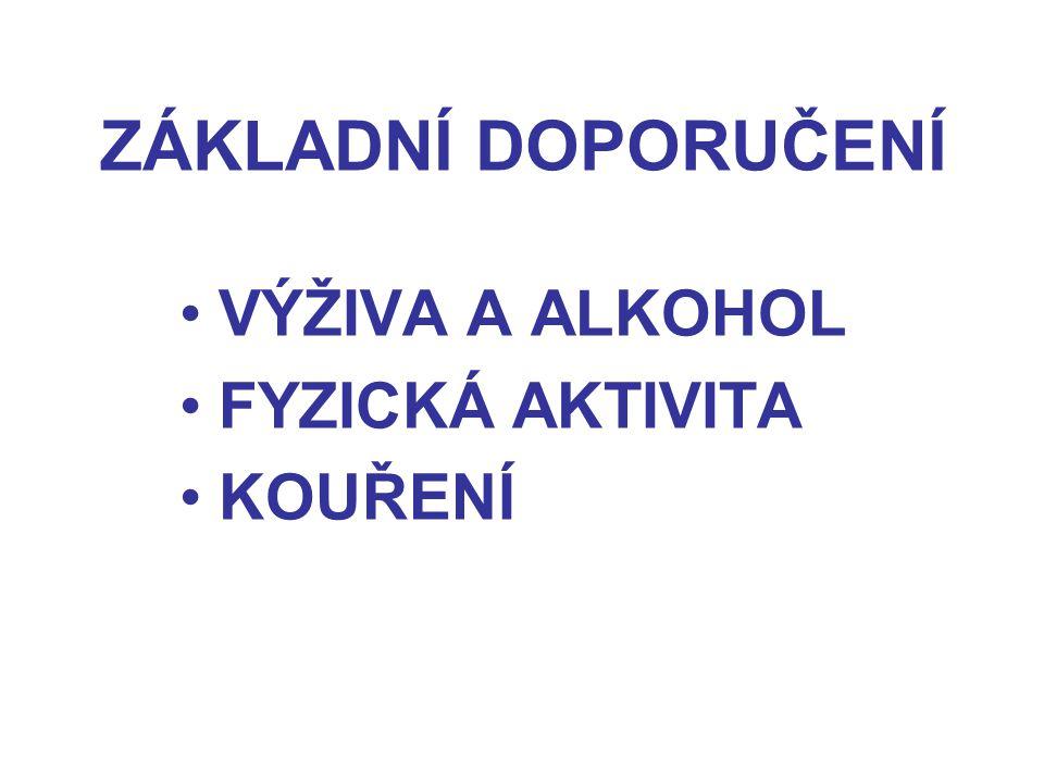 ZÁKLADNÍ DOPORUČENÍ VÝŽIVA A ALKOHOL FYZICKÁ AKTIVITA KOUŘENÍ
