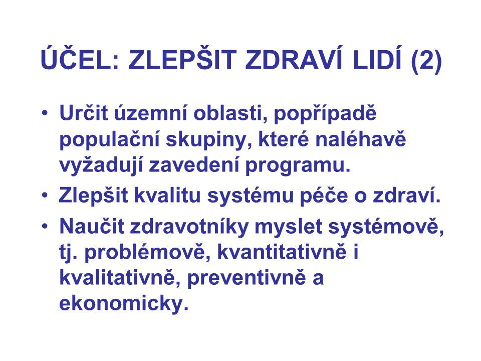 ÚČEL: ZLEPŠIT ZDRAVÍ LIDÍ (2) Určit územní oblasti, popřípadě populační skupiny, které naléhavě vyžadují zavedení programu.