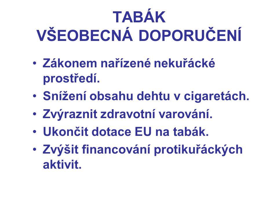 TABÁK VŠEOBECNÁ DOPORUČENÍ Zákonem nařízené nekuřácké prostředí.