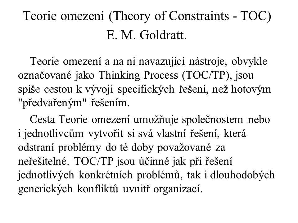 Teorie omezení (Theory of Constraints - TOC) E. M. Goldratt. Teorie omezení a na ni navazující nástroje, obvykle označované jako Thinking Process (TOC