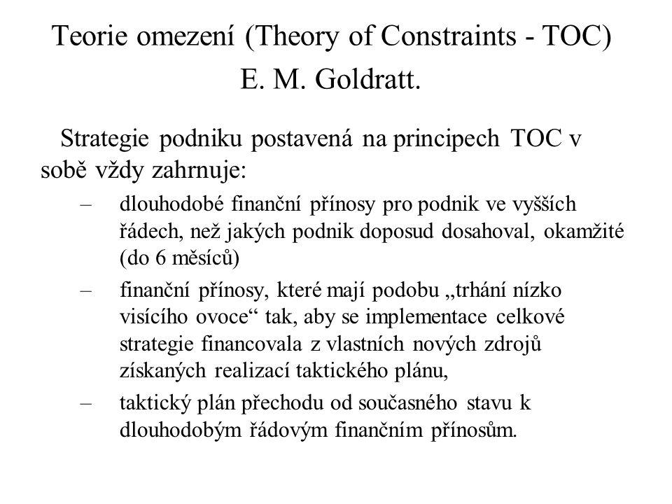 Teorie omezení (Theory of Constraints - TOC) E. M. Goldratt. Strategie podniku postavená na principech TOC v sobě vždy zahrnuje: –dlouhodobé finanční