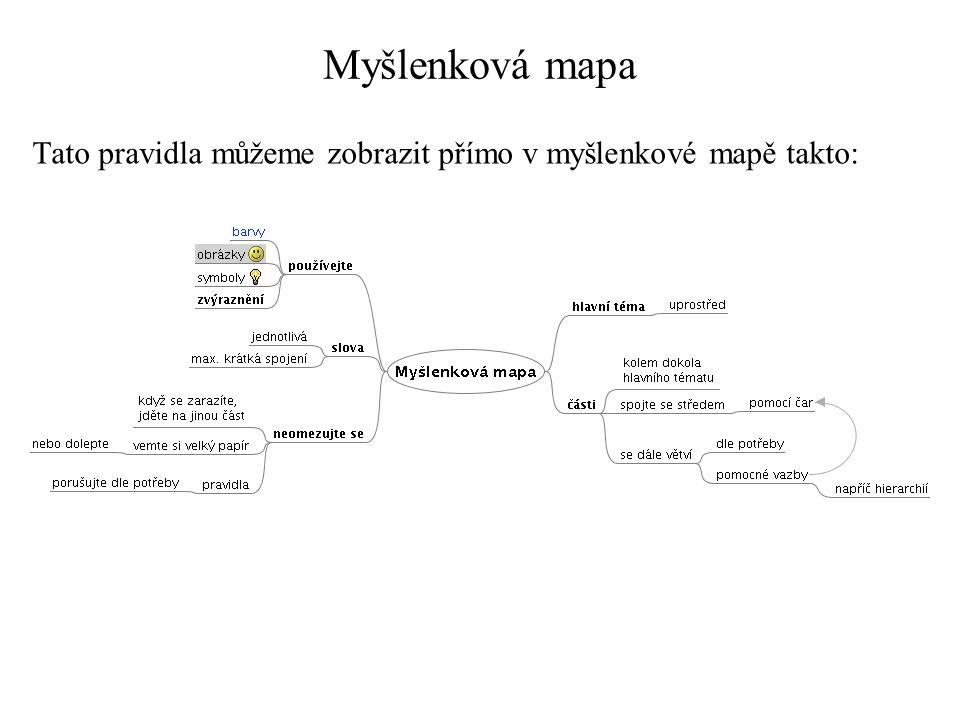 Myšlenková mapa Tato pravidla můžeme zobrazit přímo v myšlenkové mapě takto: http://toncar.cz/Clanky/myslenkove_mapy1.html