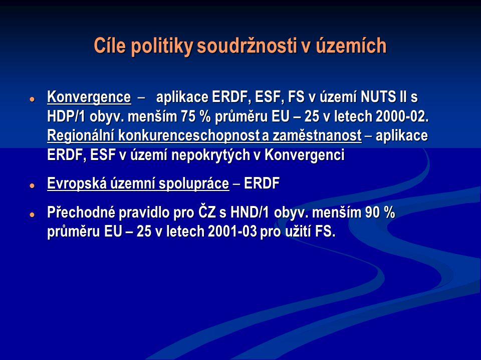 Cíle politiky soudržnosti v územích Konvergence – aplikace ERDF, ESF, FS v území NUTS II s HDP/1 obyv. menším 75 % průměru EU – 25 v letech 2000-02. R