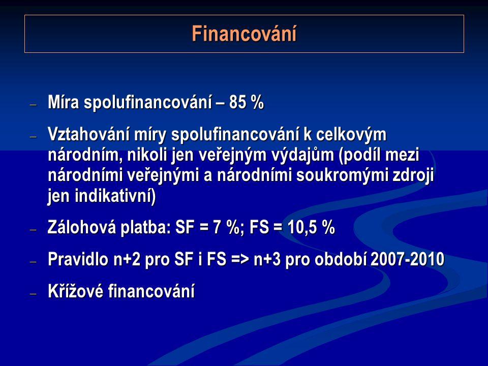 Financování  Míra spolufinancování – 85 %  Vztahování míry spolufinancování k celkovým národním, nikoli jen veřejným výdajům (podíl mezi národními veřejnými a národními soukromými zdroji jen indikativní)  Zálohová platba: SF = 7 %; FS = 10,5 %  Pravidlo n+2 pro SF i FS => n+3 pro období 2007-2010  Křížové financování
