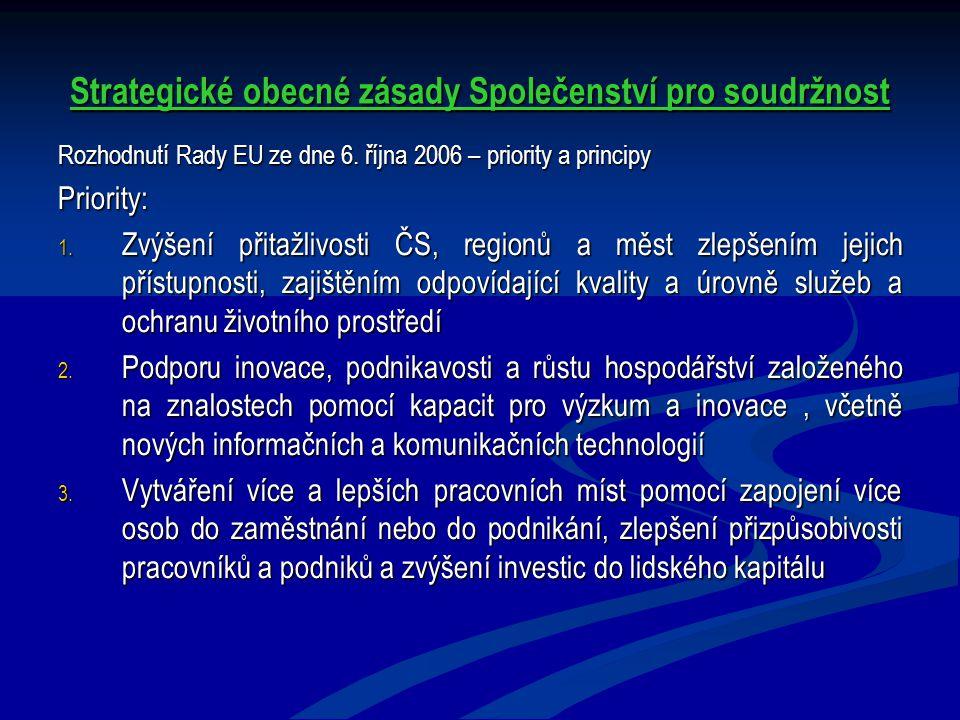 Strategické obecné zásady Společenství pro soudržnost Rozhodnutí Rady EU ze dne 6. října 2006 – priority a principy Priority: 1. Zvýšení přitažlivosti