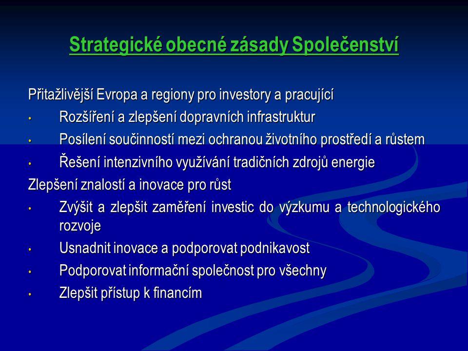 Strategické obecné zásady Společenství Přitažlivější Evropa a regiony pro investory a pracující Rozšíření a zlepšení dopravních infrastruktur Rozšíření a zlepšení dopravních infrastruktur Posílení součinností mezi ochranou životního prostředí a růstem Posílení součinností mezi ochranou životního prostředí a růstem Řešení intenzivního využívání tradičních zdrojů energie Řešení intenzivního využívání tradičních zdrojů energie Zlepšení znalostí a inovace pro růst Zvýšit a zlepšit zaměření investic do výzkumu a technologického rozvoje Zvýšit a zlepšit zaměření investic do výzkumu a technologického rozvoje Usnadnit inovace a podporovat podnikavost Usnadnit inovace a podporovat podnikavost Podporovat informační společnost pro všechny Podporovat informační společnost pro všechny Zlepšit přístup k financím Zlepšit přístup k financím