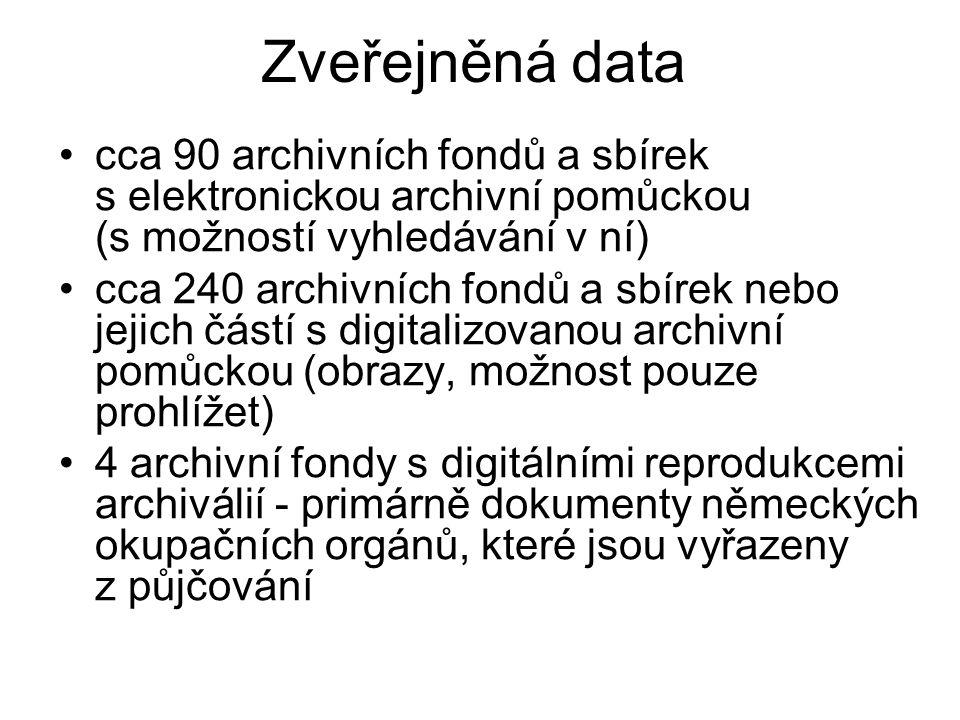 Zveřejněné archiválie Německé státní ministerstvo pro Čechy a Moravu – 86 tisíc image (http://www.badatelna.cz/fond/2199)http://www.badatelna.cz/fond/2199 Státní tajemník u říšského protektora v Čechách a na Moravě (digitalizována zatím jen část fondu) (http://www.badatelna.cz/fond/959)http://www.badatelna.cz/fond/959 První světová válka – negativy (http://www.badatelna.cz/fond/2218)http://www.badatelna.cz/fond/2218 Ministerstvo vnitra Vídeň – šlechtický archiv (pouze šlechtické erby) (http://www.badatelna.cz/fond/4552)http://www.badatelna.cz/fond/4552