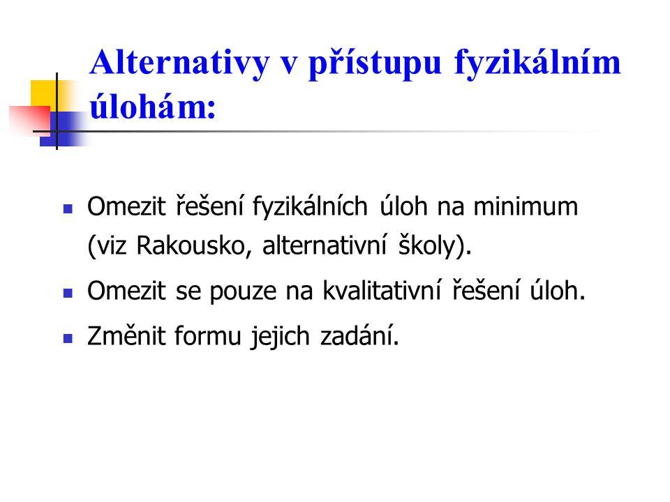 Alternativy v přístupu fyzikálním úlohám: Omezit řešení fyzikálních úloh na minimum (viz Rakousko, alternativní školy).