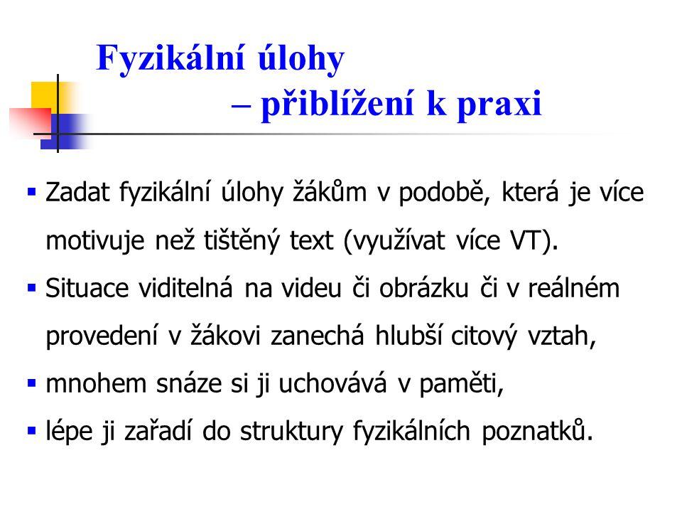 Fyzikální úlohy – přiblížení k praxi  Zadat fyzikální úlohy žákům v podobě, která je více motivuje než tištěný text (využívat více VT).