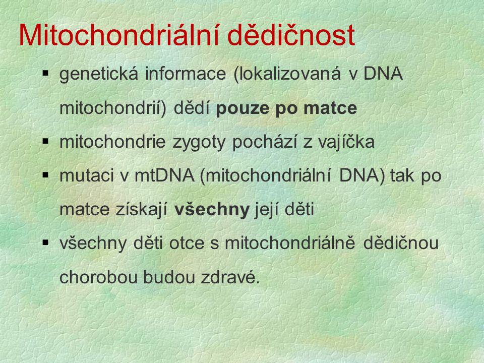 Mitochondriální dědičnost  genetická informace (lokalizovaná v DNA mitochondrií) dědí pouze po matce  mitochondrie zygoty pochází z vajíčka  mutaci