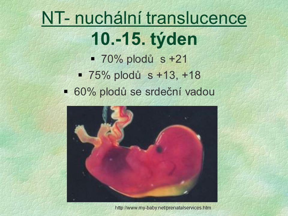 NT- nuchální translucence 10.-15. týden  70% plodů s +21  75% plodů s +13, +18  60% plodů se srdeční vadou http://www.my-baby.net/prenatalservices.