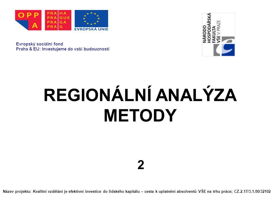 REGIONÁLNÍ ANALÝZA METODY 2 Evropský sociální fond Praha & EU: Investujeme do vaší budoucnosti Název projektu: Kvalitní vzdělání je efektivní investic