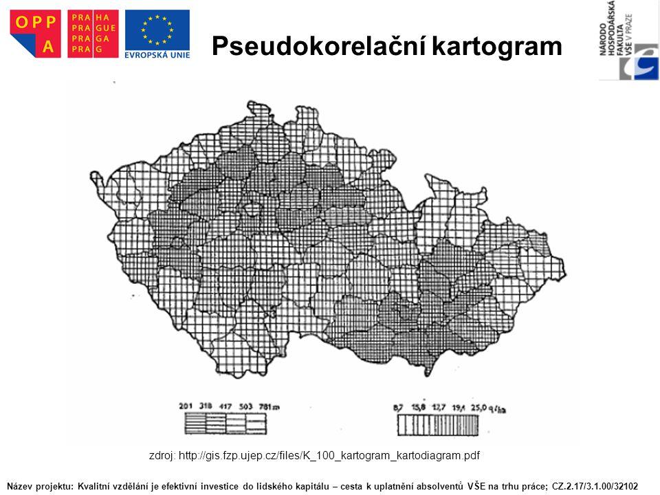 Pseudokorelační kartogram zdroj: http://gis.fzp.ujep.cz/files/K_100_kartogram_kartodiagram.pdf Název projektu: Kvalitní vzdělání je efektivní investic