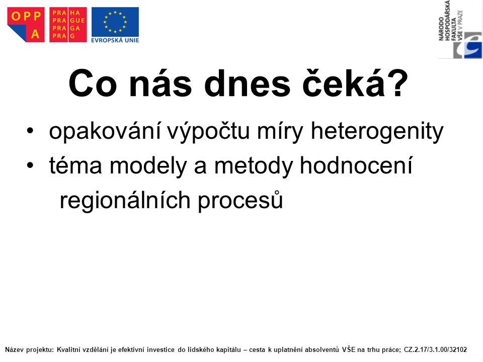 Co nás dnes čeká? opakování výpočtu míry heterogenity téma modely a metody hodnocení regionálních procesů Název projektu: Kvalitní vzdělání je efektiv