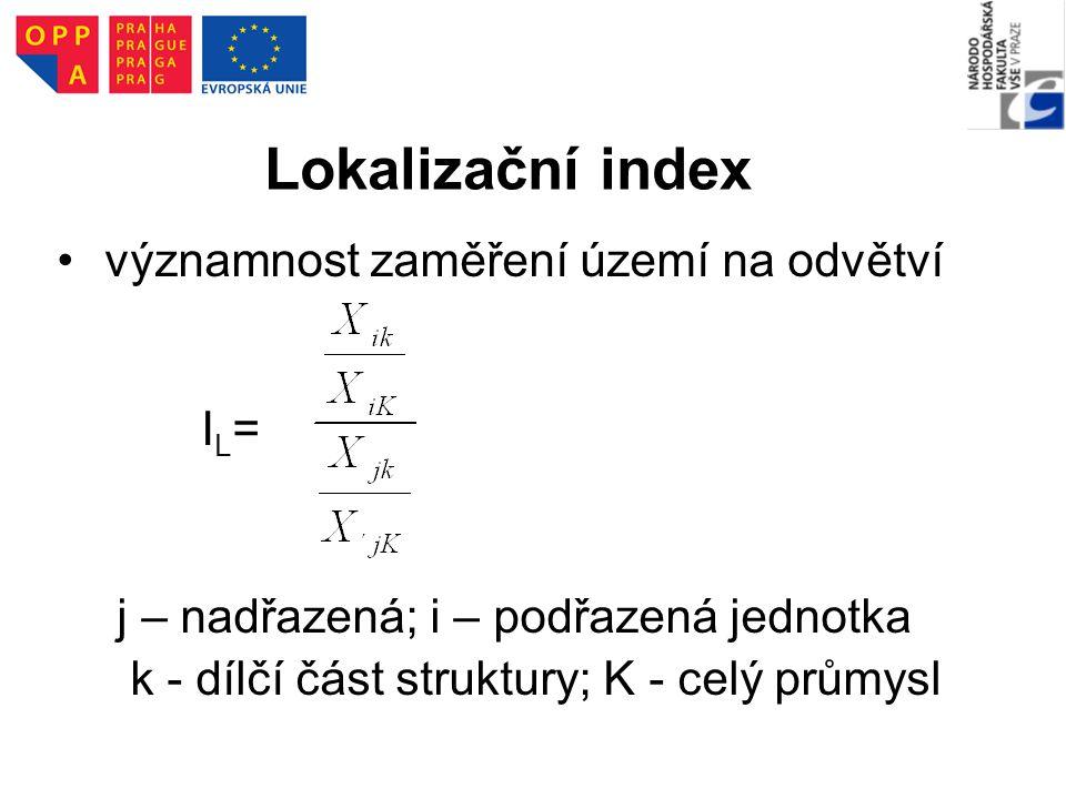 Lokalizační index významnost zaměření území na odvětví I L = j – nadřazená; i – podřazená jednotka k - dílčí část struktury; K - celý průmysl