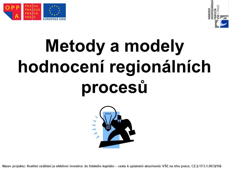 Metody a modely hodnocení regionálních procesů Název projektu: Kvalitní vzdělání je efektivní investice do lidského kapitálu – cesta k uplatnění absol