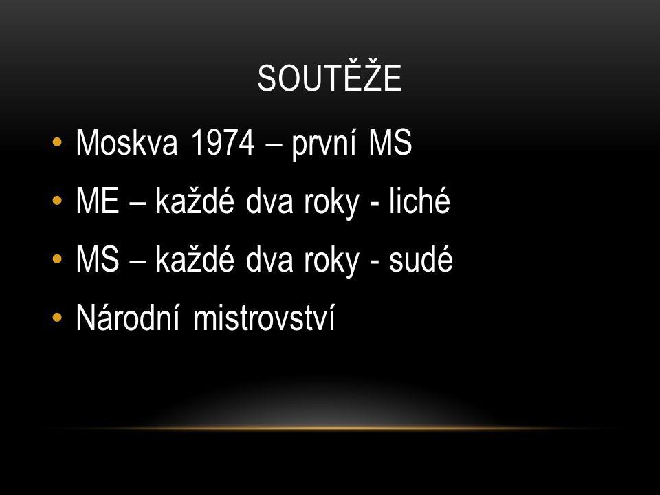 SOUTĚŽE Moskva 1974 – první MS ME – každé dva roky - liché MS – každé dva roky - sudé Národní mistrovství