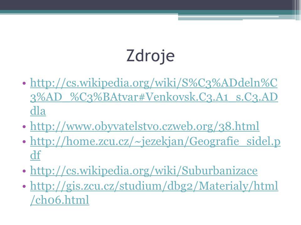 Zdroje http://cs.wikipedia.org/wiki/S%C3%ADdeln%C 3%AD_%C3%BAtvar#Venkovsk.C3.A1_s.C3.AD dlahttp://cs.wikipedia.org/wiki/S%C3%ADdeln%C 3%AD_%C3%BAtvar