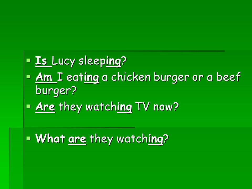  Is Lucy sleeping.  Am I eating a chicken burger or a beef burger.