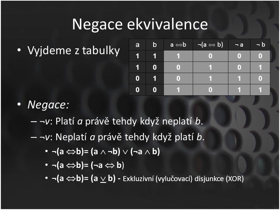 Negace ekvivalence Vyjdeme z tabulky Negace: – ¬v: Platí a právě tehdy když neplatí b. – ¬v: Neplatí a právě tehdy když platí b. ¬(a  b)= (a  ¬b) 