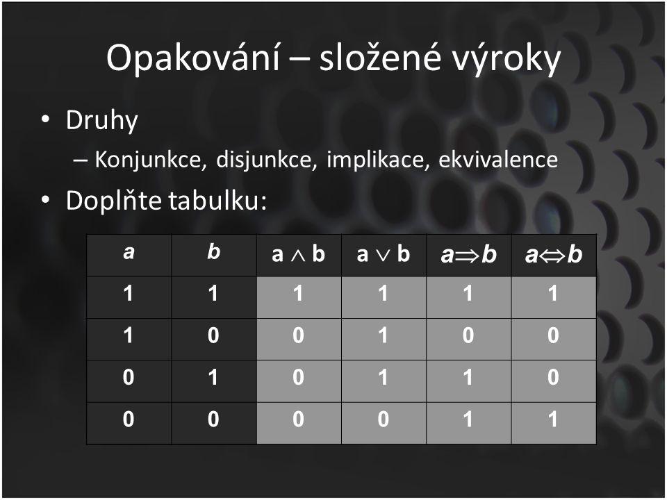 Opakování – složené výroky Druhy – Konjunkce, disjunkce, implikace, ekvivalence Doplňte tabulku: ab a  ba  b abababab 11 10 01 00 ab a  ba  b