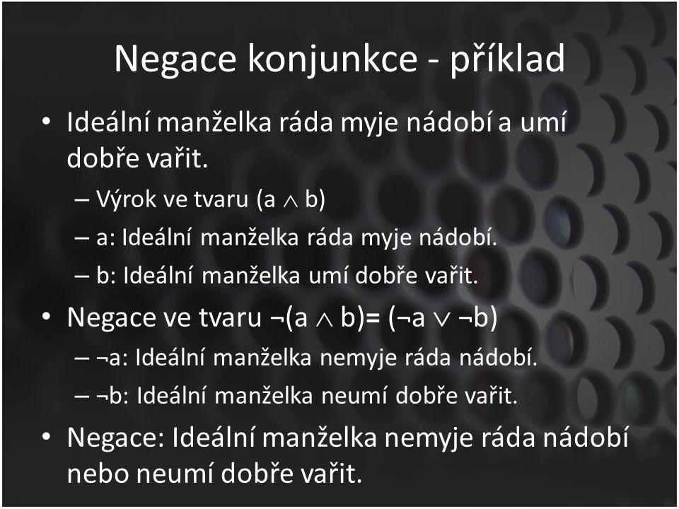 Negace konjunkce - příklady Číslo 12 je dělitelné 3 a 4.
