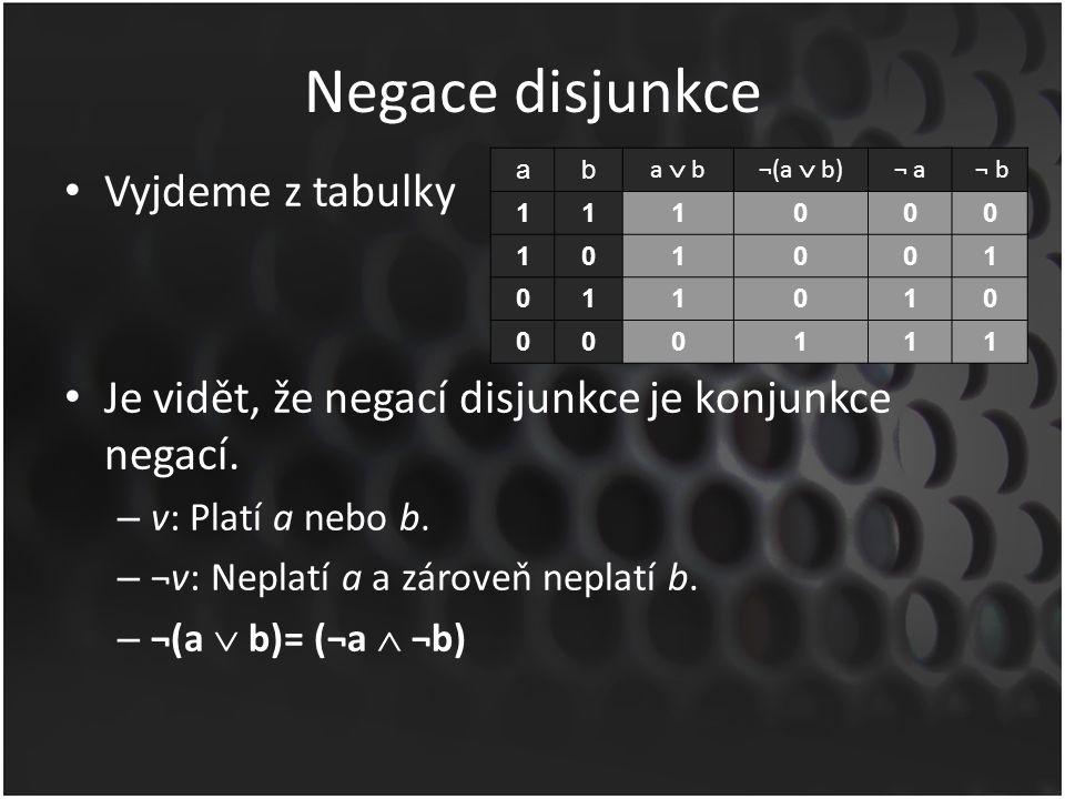 Negace disjunkce Vyjdeme z tabulky Je vidět, že negací disjunkce je konjunkce negací. – v: Platí a nebo b. – ¬v: Neplatí a a zároveň neplatí b. – ¬(a